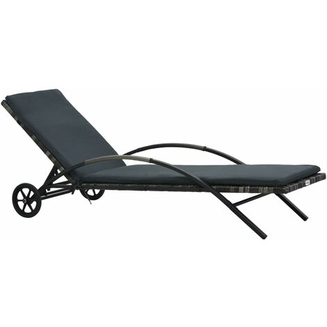 Sun Lounger with Cushion & Wheels Poly Rattan Anthracite