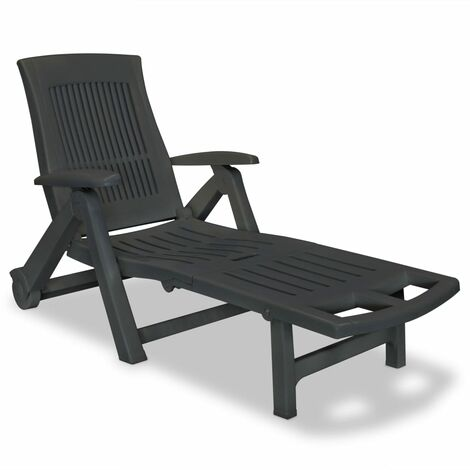 Sun Lounger with Footrest Plastic Anthracite