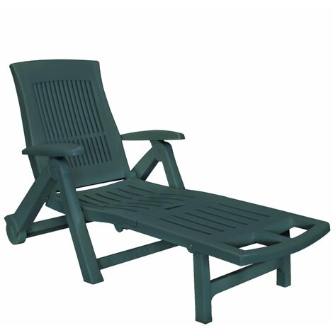 Sun Lounger with Footrest Plastic Green