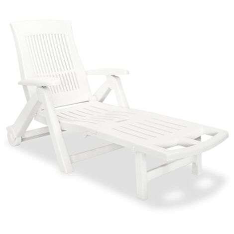 Sun Lounger with Footrest Plastic White - White