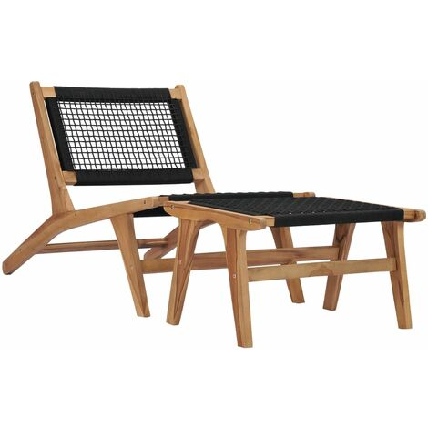 Sun Lounger with Footrest Solid Teak Wood and Rope