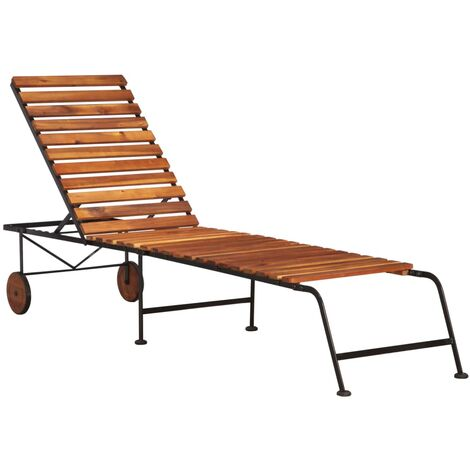 Sun Lounger with Steel Legs Solid Acacia Wood - Brown