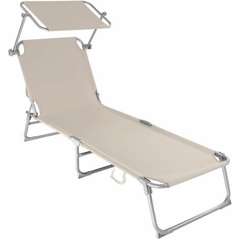 Sun lounger with sun shade - reclining sun lounger, sun chair, foldable sun lounger - beige