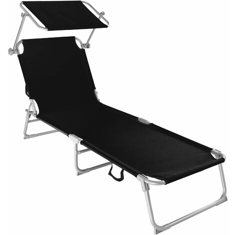 Sun lounger with sun shade - reclining sun lounger, sun chair, foldable sun lounger