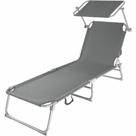 "main image of ""Sun lounger with sun shade - reclining sun lounger, sun chair, foldable sun lounger"""