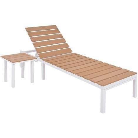 Sun Lounger with Table Aluminium WPC and Brown