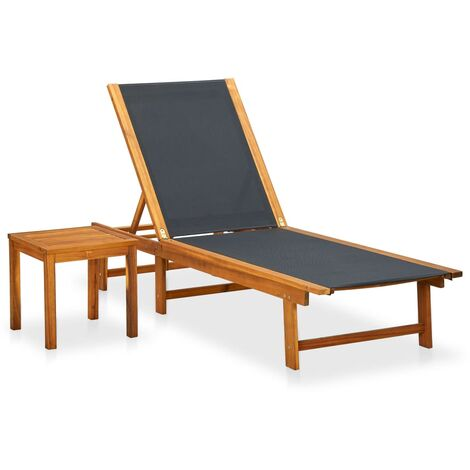 Sun Lounger with Table Solid Acacia Wood and Textilene