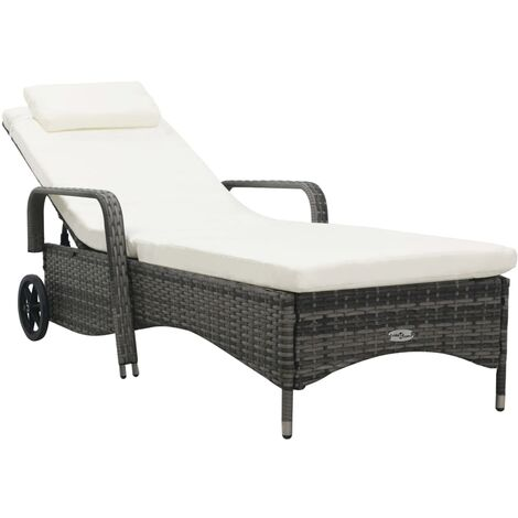 Sun Lounger with Wheels Poly Rattan Grey