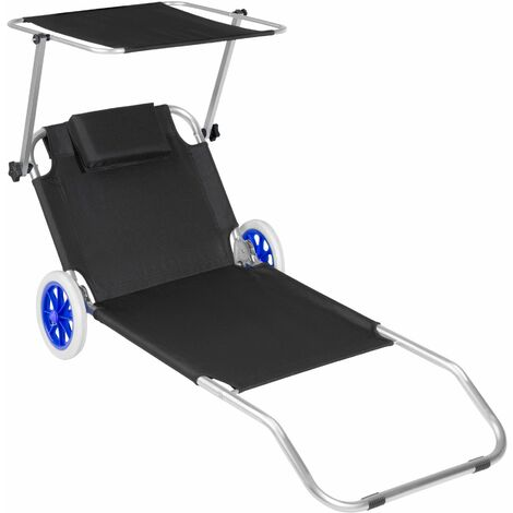 Sun lounger with wheels - sun chair, foldable sun lounger, folding sun bed