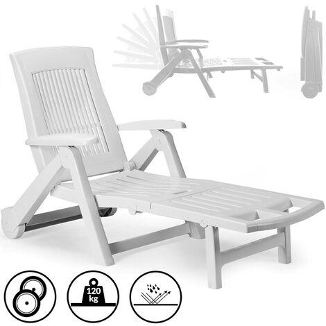 Sun Lounger Zircone Plastic Castors Adjustable Back Foldable Garden Patio Sun Bed Recliner