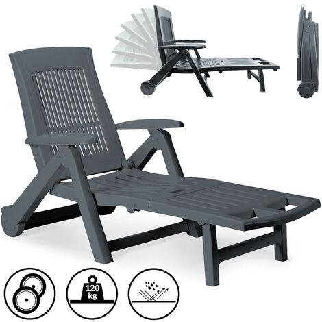 "main image of ""Sun Lounger Zircone Plastic Castors Adjustable Back Foldable Garden Patio Sun Bed Recliner"""