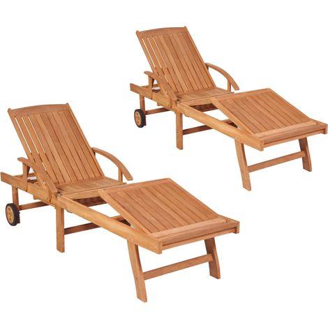 Sun Loungers 2 pcs Solid Teak Wood