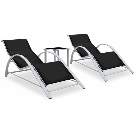 """main image of """"Sun Loungers 2 pcs with Table Aluminium Black23287-Serial number"""""""