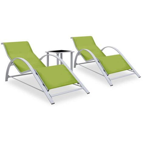 """main image of """"Sun Loungers 2 pcs with Table Aluminium Green23293-Serial number"""""""