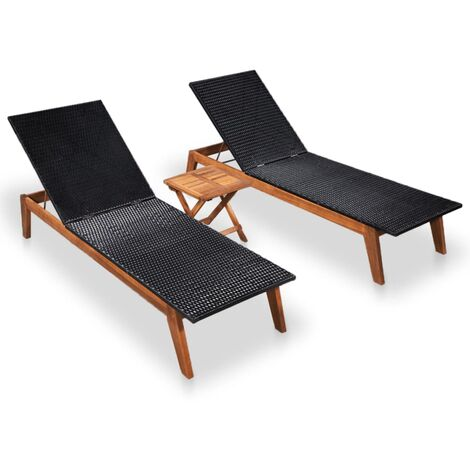 Sun Loungers 2 pcs with Table Poly Rattan and Solid Acacia Wood - Black