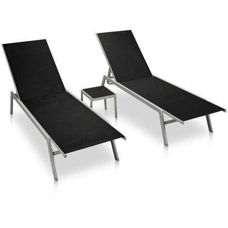 Sun Loungers 2 pcs with Table Steel and Textilene Black - Black