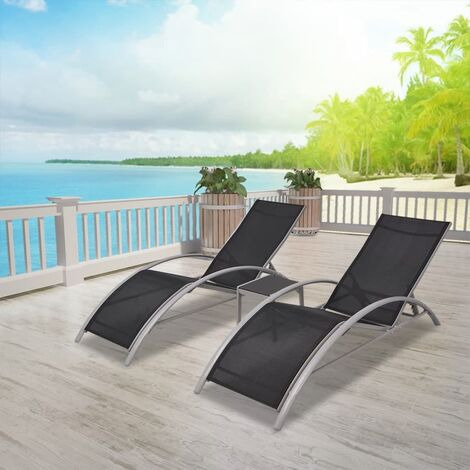 Sun Loungers with Table Aluminium Black - Black