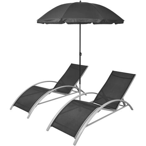 Sun Loungers with Umbrella Aluminium Black