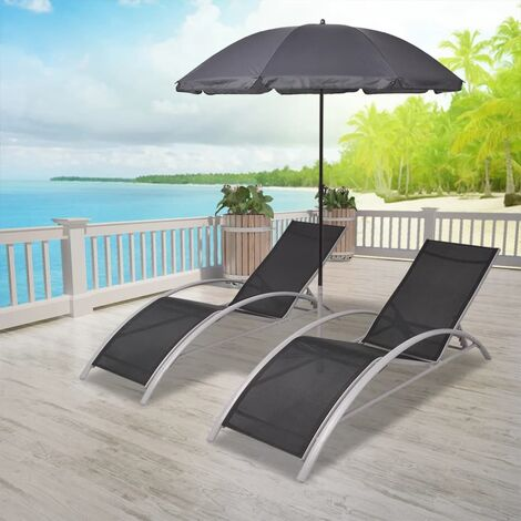 Sun Loungers with Umbrella Aluminium Black - Black