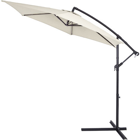 Sun Parasol Cream 3 5 m Hanging Banana Umbrella UV Protection 40
