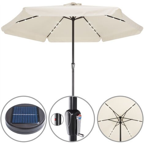 Sun Parasol Garden Umbrella Patio LED Lights Solar 330cm Round Sunshade Canopy