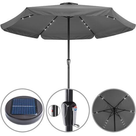 Sun Parasol Garden Umbrella Patio LED Lights Solar 330cm Round Sunshade Canopy