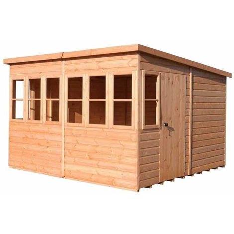 Sun Pent 10' x 6' Single Door with Eight Windows Dip Treated Wooden Garden Potting Shed