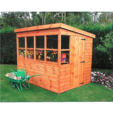 Sun Pent 6' x 6' Single Door with Six Windows Dip Treated Wooden Garden Potting Shed