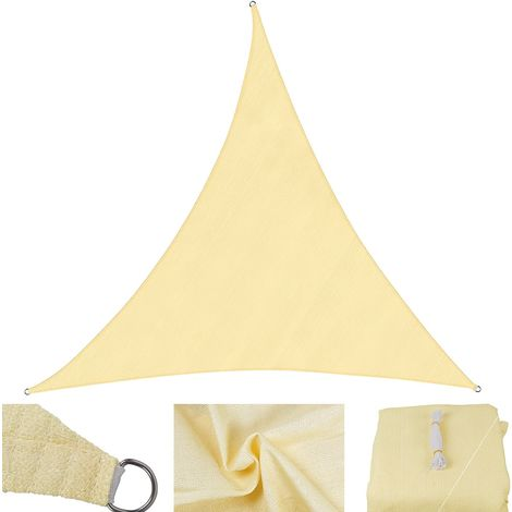 Sun protection sail cream/white - triangle - 3x3x3 m wind protection shade sail