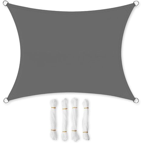 Sun Shade Sail 3x3m/3x4m/3.5x5m/4x6m/5x5m, Sun Protection for Garden Balcony and Terrace, PES Polyester, 94% UV Block, Water Repellent, Smoky Grey/Cream White/Smoky Grey/Beige
