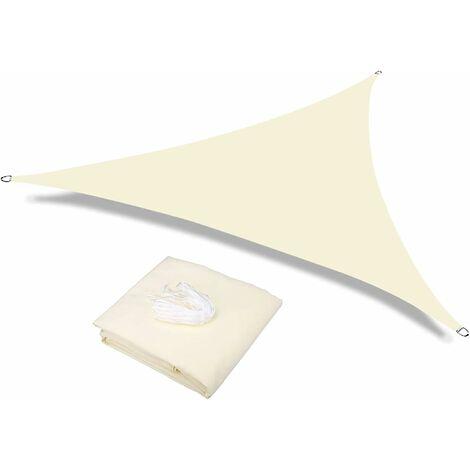Sun Shade Voile Étanche Etanche Jardin d'extérieur Patio Party Sunscreen Awnnning 3.6x3.6x3.6m Triangle Canopy 98% UV Bloc avec corde libre, blanc cassé