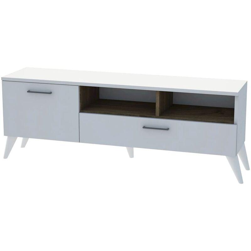 Homemania TV-Schrank Sun 120x31,7x48,6 cm Weiß und Walnuss