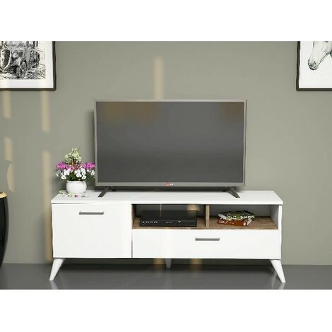 Sun TV-Schrank - Modern - mit Tueren, Regalen - vom Wohnzimmer - Weiss, Nussbaum aus Holz, PVC, 120 x 31,7 x 48,6 cm