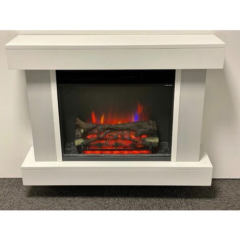 Suncrest Foxley Electric Fireplace Fire Heater Heating Real Log Effect Remote