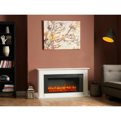 Suncrest Georgia Electric Fireplace Fire Heater Heating Real Log Effect Remote