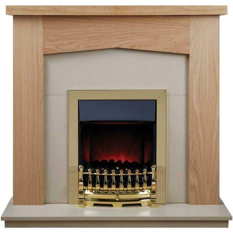 Suncrest Grasmere Electric Fireplace Fire Heater Heating Real Coal Effect Brass
