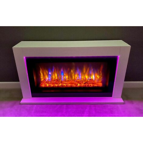 Suncrest Lumley Electric Fireplace Fire Heater Heating Real Log Effect Lighting