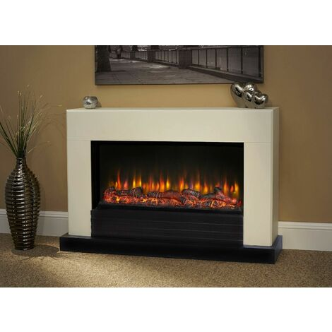 Suncrest Raby Electric Fireplace Fire Heater Heating Real Log Effect Remote