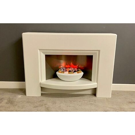 Suncrest Stockeld Electric Fireplace Fire Heater Heating Real Log Effect Cream