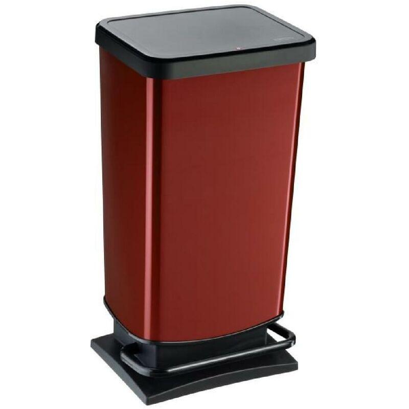 SUNDIS Poubelle de cuisine Paso 40 L - Décor rouge métal - Ouverture pédale