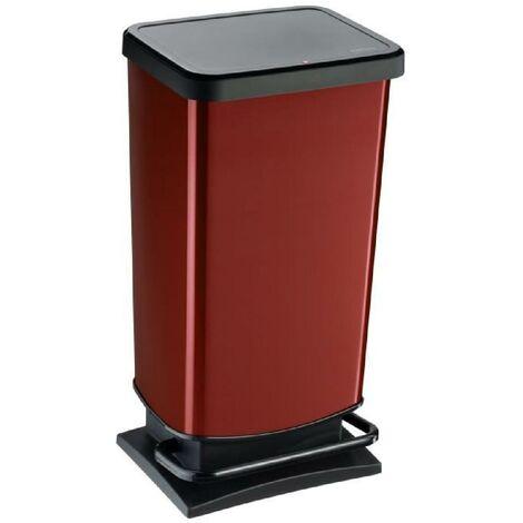 SUNDIS Poubelle de cuisine Paso 40 L - Decor rouge metal - Ouverture pedale
