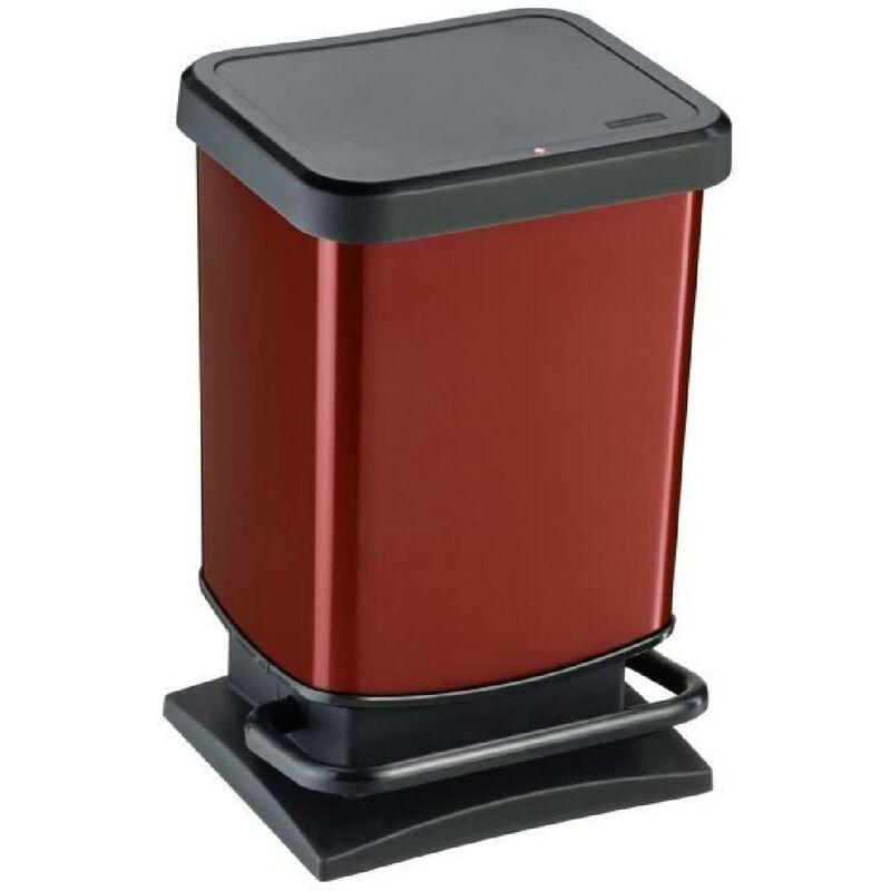 SUNDIS Rotho Poubelle de cuisine a pédale Paso 20 L rouge et noir 29.3x26.6x45.7 cm