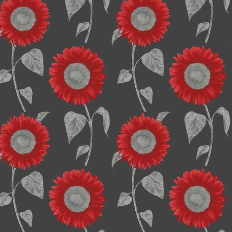 Sunflower Wallpaper Floral Luxury Modern Black Red Metallic Silver Fine Decor