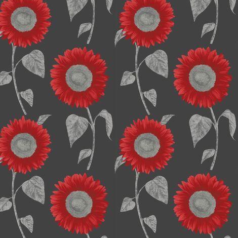 Sunflower Wallpaper Floral Luxury Modern Black Red Metallic Silver Fine Decor