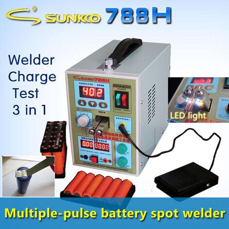 SUNKKO 788H-USB Soldadora por puntos de pulso de precisión 18650 Máquina de soldadura con batería LED Prueba de batería y función de carga + Prueba de banco de energía