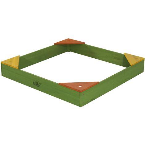 SUNNY Daisy Bac à Sable Enfant vert | Bac à Sable pour Enfants en Bois avec Bache | 90 x 90 cm