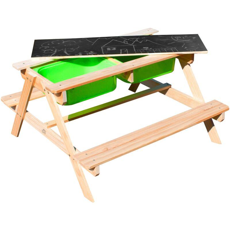 Sunny Dual Top 2.0 Table Sable et Eau / Pique Nique en Bois | Table d'eau avec Couvercle & boîtes de rangement vertes | Table de Jeu Enfant à Eau