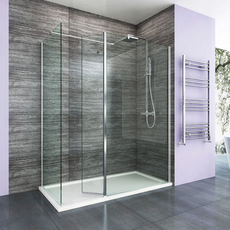 sunny showers 1200 x 760 mm Walk in Shower Enclosure Panel with Stone Tray and 300mm Flipper Panel