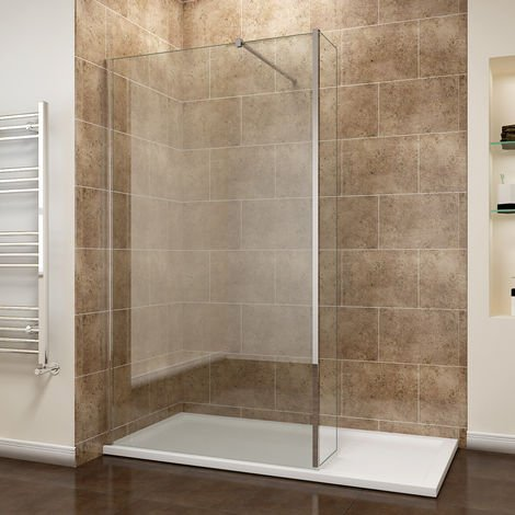 sunny showers 1200mm Walk In Wetroom Shower Screen Panel 8mm Easy Clean Glass Shower Enclosure with 300mm Fixed Panel