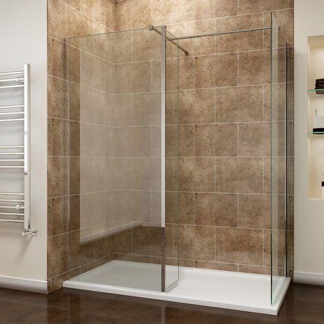 sunny showers 1400 x 760 mm Walk in Wetroom Shower Enclosure Panel with 300mm Flipper Panel 8mm Easy Clean Glass Shower Screen + Shower Tray